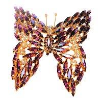 Massive Runway Style Butterfly Brooch in Purple circa 1960