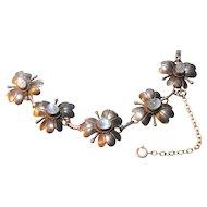 Signed Sterling Flower Bracelet Set w/ Moonstone Cabochons circa 1940