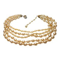 Signed Miriam Haskell Five Strand Imitation Baroque Pearl Necklace c. 1950
