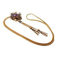 Unsigned Victorian Revival Purple Lava Rock Bolo Slide Necklace circa 1960