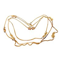 Signed Miriam Haskell Long Gold Tone Chain w/ Imitation Baroque Pearl Spacers c. 50