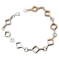 Signed Kultateollisuus Ky Finnish Silver Modernist Geometric Bracelet circa 1970
