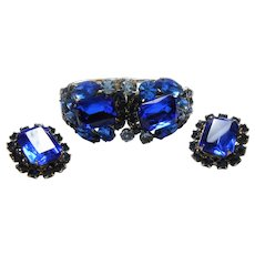 Unsigned Beauty Drippy Blue Rhinestone Clamper & Earring Set circa 1960