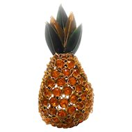 Unsigned Rhinestone & Enamel w/ Filigree Pineapple Brooch