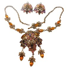 Unsigned Filigree Imitation Jeweled Necklace & Earring Set c. 1940