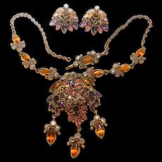 1940's Multi Imitation Jeweled Filigree Necklace & Earring Set Unsigned