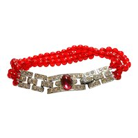 Unsigned Art Deco Red Glass Bead Bracelet w/ Rhinestone Clasp Detail circa 1930