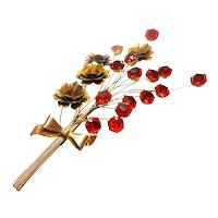 Signed Sterling Gold Plated WWII Era Trembling Floral Spray Brooch