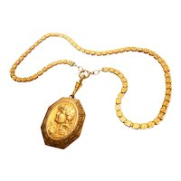 Signed C & Q R Gold Filled Victorian Locket on Book Chain circa 1890