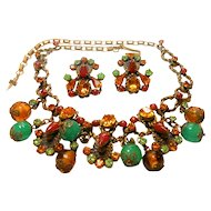 Unsigned Beauty Rhinestone, Beads in Chunky Setting Necklace & Earring Set c. 60