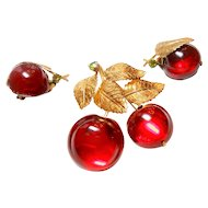Signed Austrian Glass Apples w/ Leaves Forbidden Fruit Brooch & Earring Set c. 50
