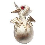 Signed Trifari Brushed Silver Tone Hatching Chick Pin circa 1970