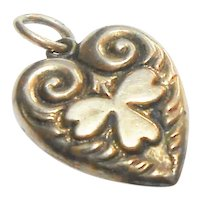 Signed Sterling Puffy Heart w/ Repousse Clover - Engraved JD circa 1920