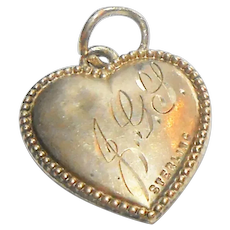 Signed Sterling Puffy Heart w/ Beaded Edge - Engraved JGL circa 1920