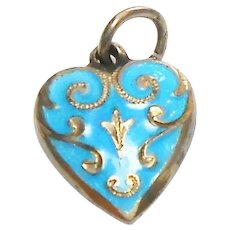 Signed Sterling Art Deco Puffy Heart w/ Turquoise Enameling c. 1920