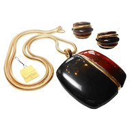 Signed Bergere Lucite Modernist Earrings & Pendent Necklace c. 1970