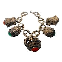 Signed Italian Florentine Sterling Silver Chunky Charm Bracelet