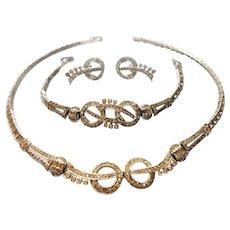 Signed Otis Sterling Parure of Real Look Necklace, Bracelet & Earrings c. 1940