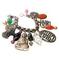 Napier Asian Themed Charm Bracelet w/ Rare Germany Clasp