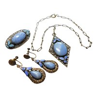 Czechoslovakian Brass Filigree w/ Enameling & Blue Slag Glass Stones Set circa 1930