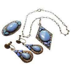Czechoslovakian Brass Filigree w/ Enameling & Blue Slag Glass Stones Set circa 1930