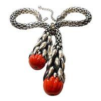 Signed Napier Wheat Chain Melon Bead Necklace in Silver Tone circa 1950