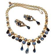 Signed Volupte Gold Tone Blue Rhinestone Necklace & Earring Set c. 1950