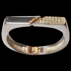 Signed Trifari Silver Tone w/ Rhinestone Bracelet circa 1970