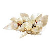 Hand Carved Mother of Pearl Victorian Floral Brooch c. 1900
