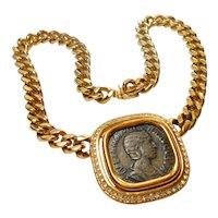 Signed Ciner Greek Inspired Coin Necklace circa 1980