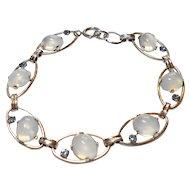 Signed White Gold Filled Imitation Moonstone Cabochon Bracelet circa 1950