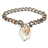 Signed British Sterling Pad Lock Curb Chain Bracelet circa 1960