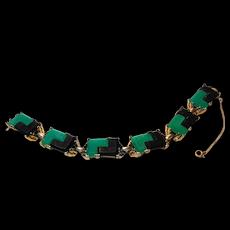 Signed Reja Black & Green Puzzle Glass Bracelet circa 1950