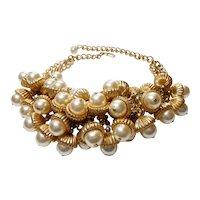 Signed Napier Gold Tone w/ Imitation Pearl Acorns Necklace c. 1960