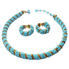Signed Miriam Haskell Turquoise Glass Seed Bead Necklace & Earrings c. 50