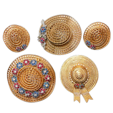 Signed Ciner Hats Set w/ Three Scatter Pins & Earrings c. 1960