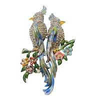 Signed Coro Duette Silver Tone Enamel & Rhinestone Love Birds circa 1940