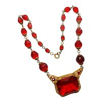 Signed Czechoslovakian Red Glass Gold Tone Filigree Detail Necklace c. 1930