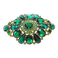 Large Green Faceted Glass Pot Metal Art Deco Era Brooch