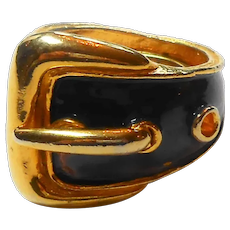 Signed Pauline Rader Enamel Buckle Ring circa 1970