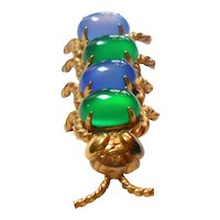 Signed Winard 1/20th 12K Gold Filled Caterpillar Brooch w/ Blue & Green Stones c. 50