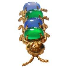 Signed Winard 1/20th 12K Gold Filled Caterpillar Brooch w/ Blue & Green Stones c. 50