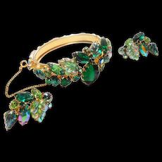 Unsigned Beauty Carved Fruit & Rhinestone Green Bracelet & Earring Set c. 60