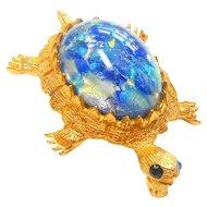Signed 11 W 30 St INC - Dodds Turtle Pin w/ Art Glass Stone c. 60