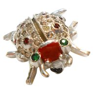 Signed Coro Pat. Tiny Lady Bug Scatter Pin for Perfume circa 1950
