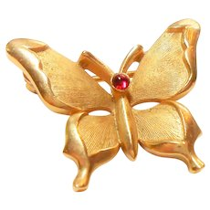 Signed Trifari Brushed Gold Tone Butterfly Pin c. 1950