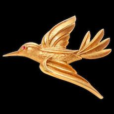 Signed Trifari Brushed Gold Tone Bird in Flight w/ Red eye circa 1950