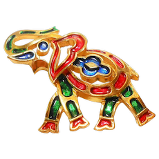 Signed Trifari Mosaic Enamel Elephant Pin circa 1960