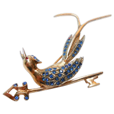 Signed Sterling Rose Gold Plated Bird Perched on a Key Brooch c. 40