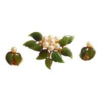 Signed Swoboda Floral Carved Jade & Pearl Brooch & Earrings